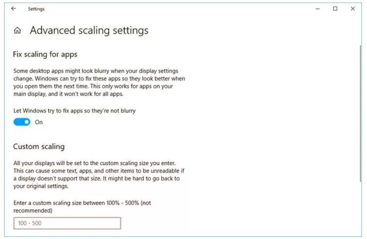 scaling setting