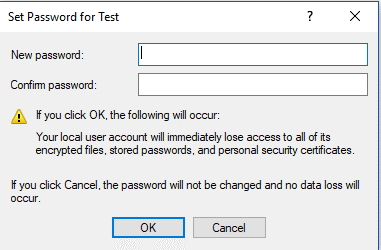 set password for test