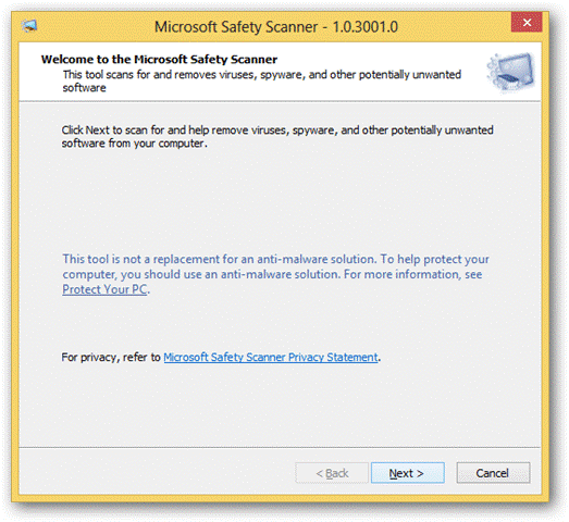 welcome Microsoft Safety Scanner