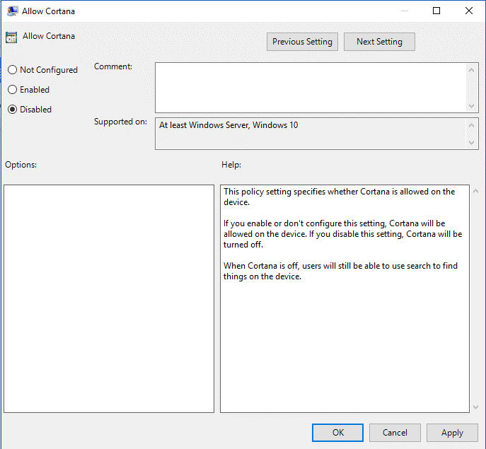 Disable Cortana on Windows Pro-3