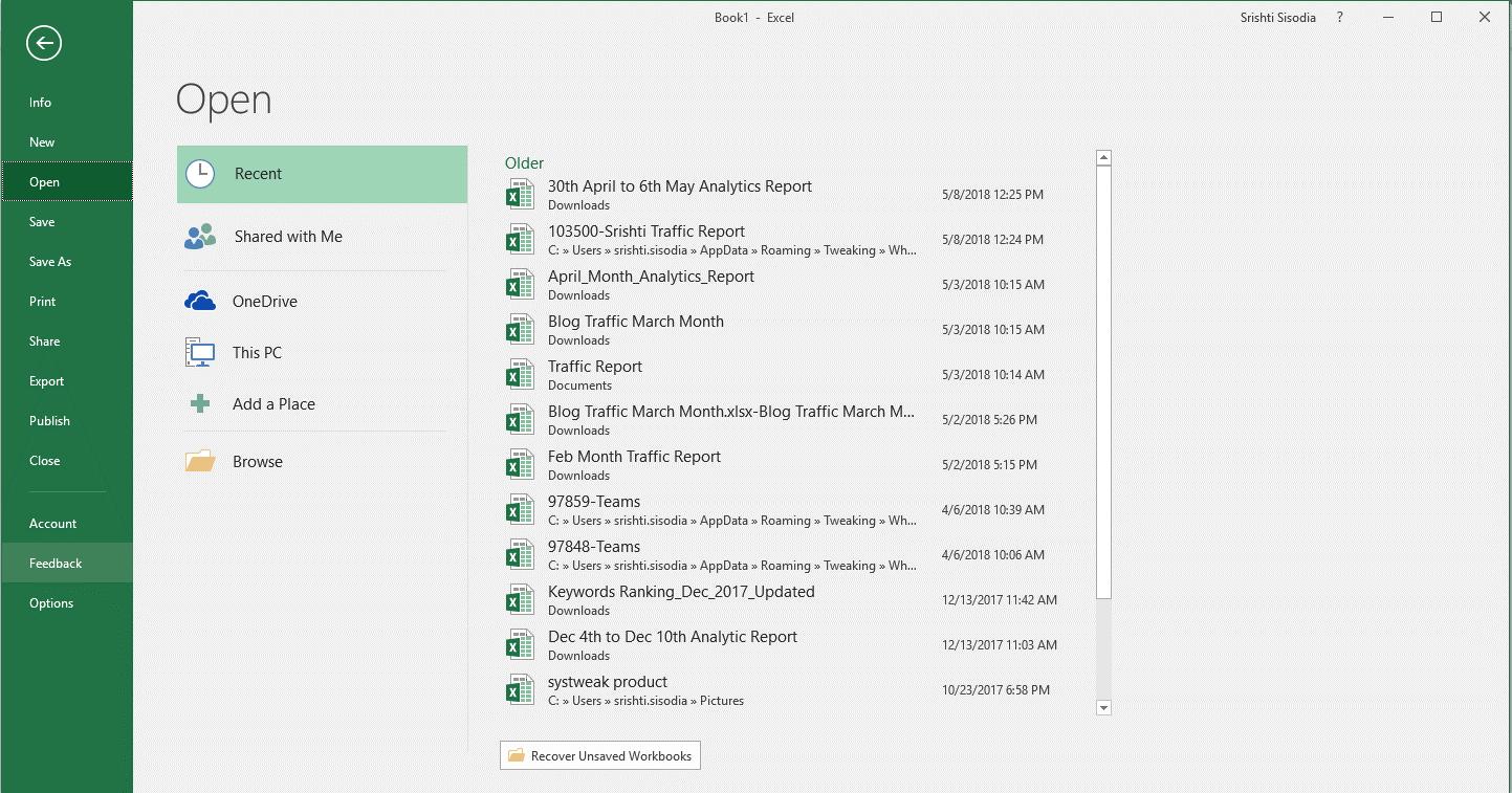 Excel window