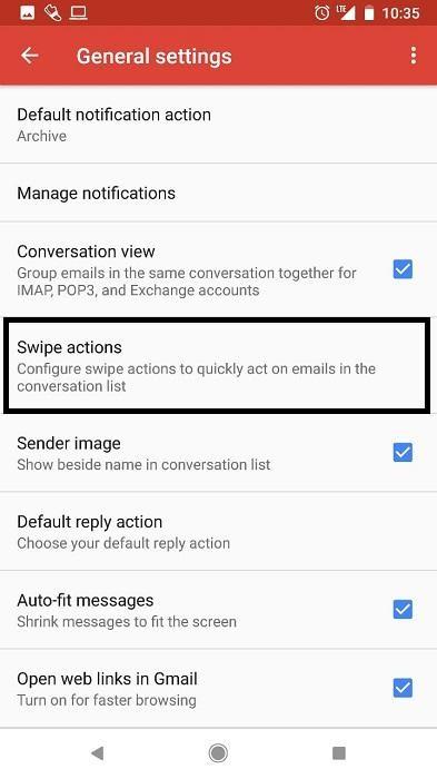 local swipe settings gmail