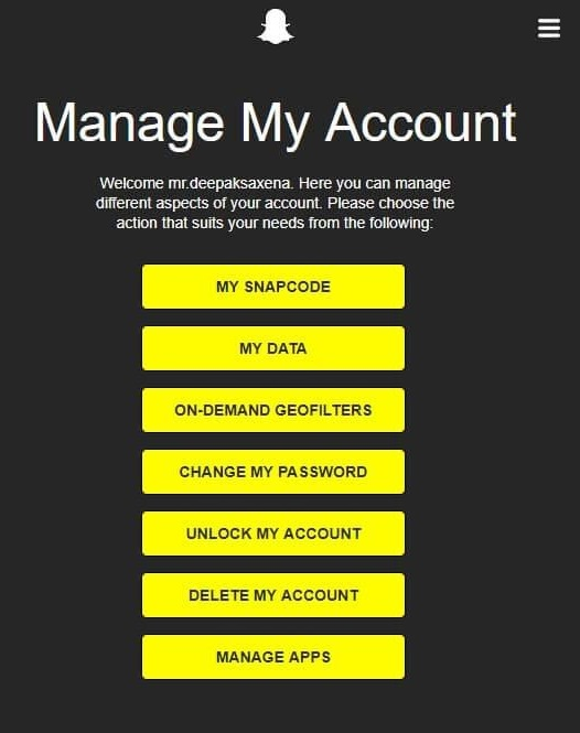 manage snapchat account