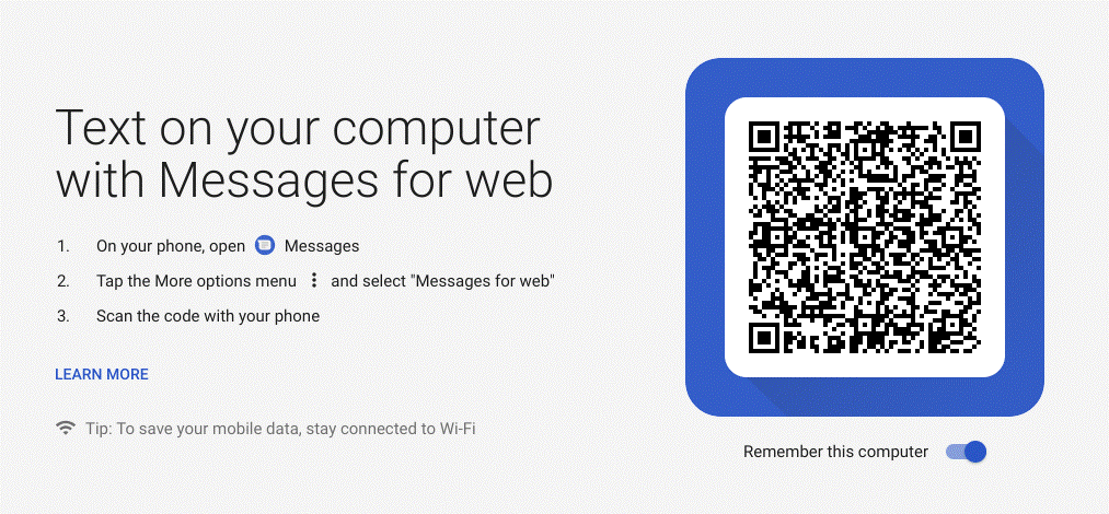 message on web