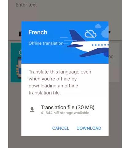 offline translation in google translate