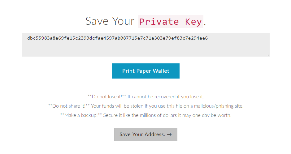 save private ether key
