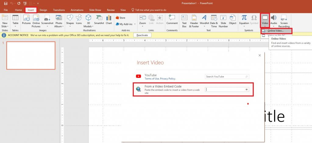Embed YouTube Videos in PowerPoint