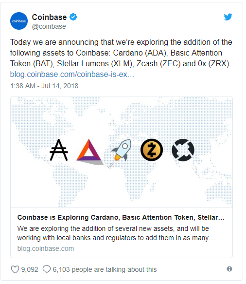 Coinbase Adds Five More Coins