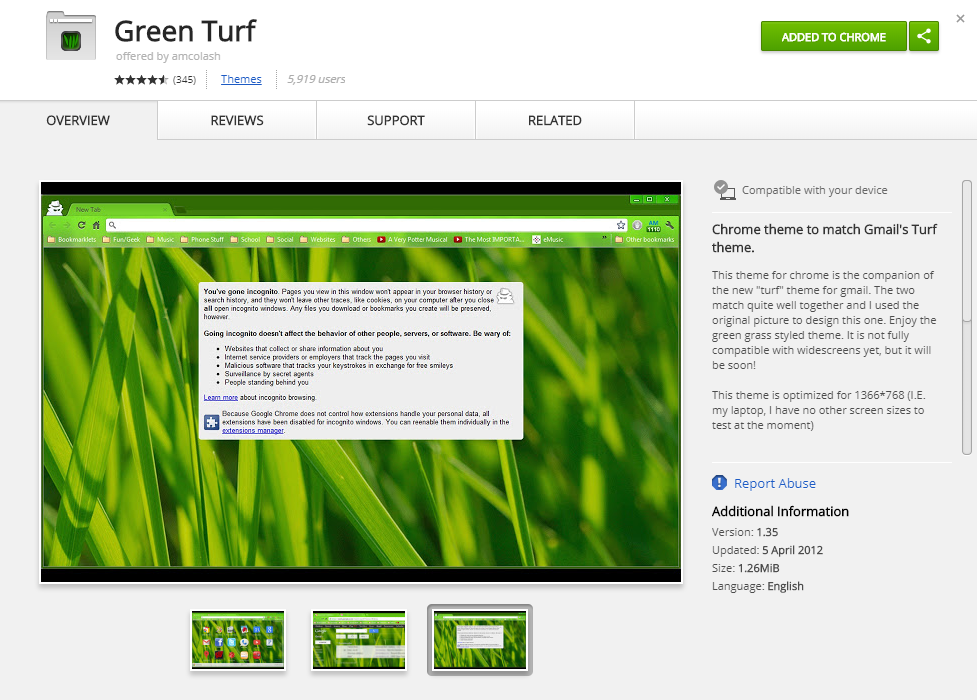 Green Turf chrome theme