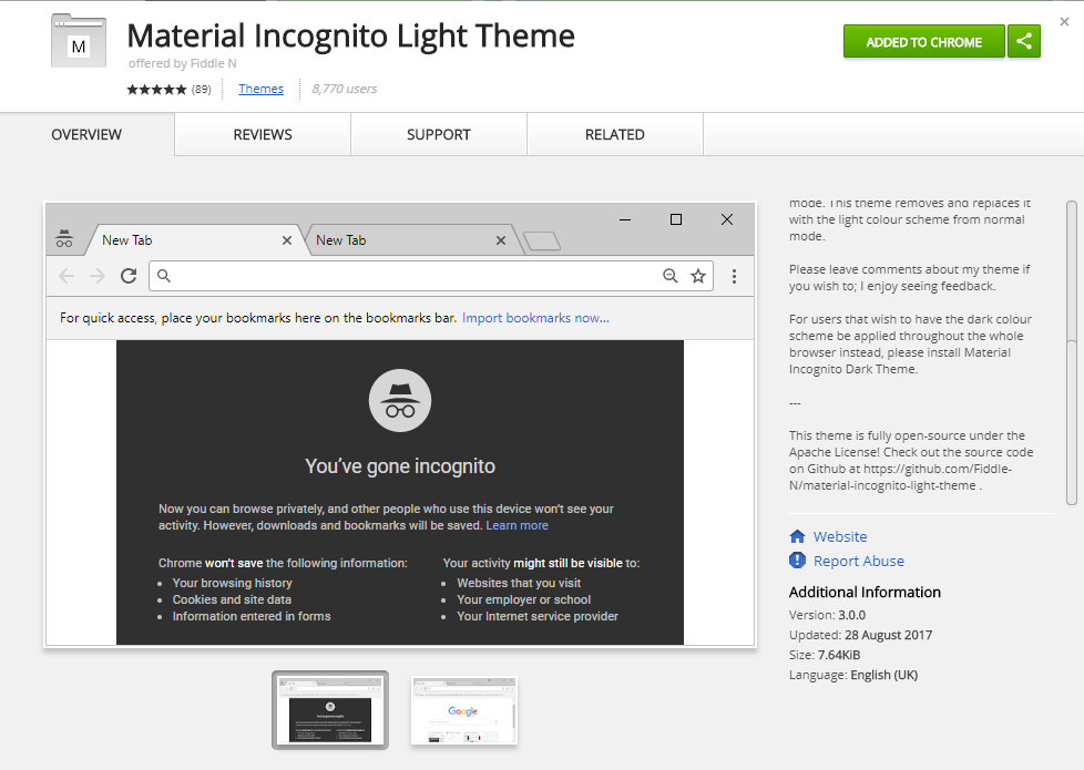 Material Incognito Light Theme