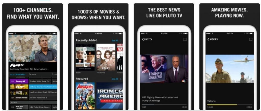 Pluto TV free app for movie watching