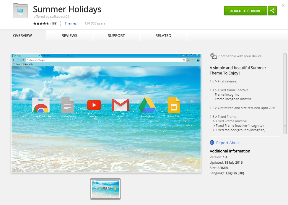 Summer Holidays chrome theme