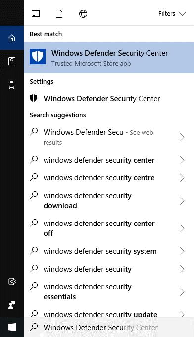 Windows Defender Security Centre