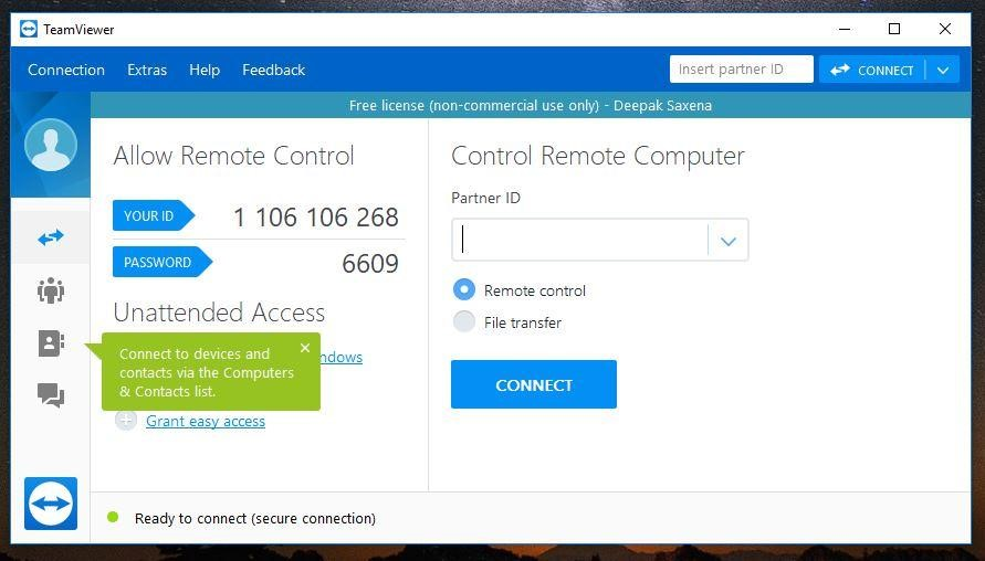 another procedure to access pc remotely