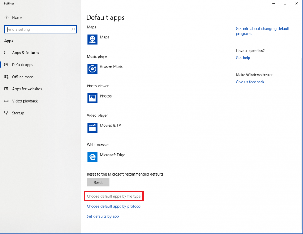 default apps by the file
