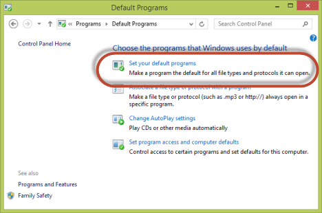 default programs windows 8