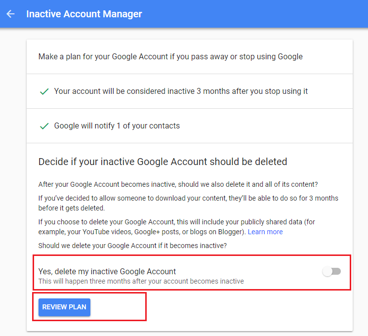 inactive account review plan