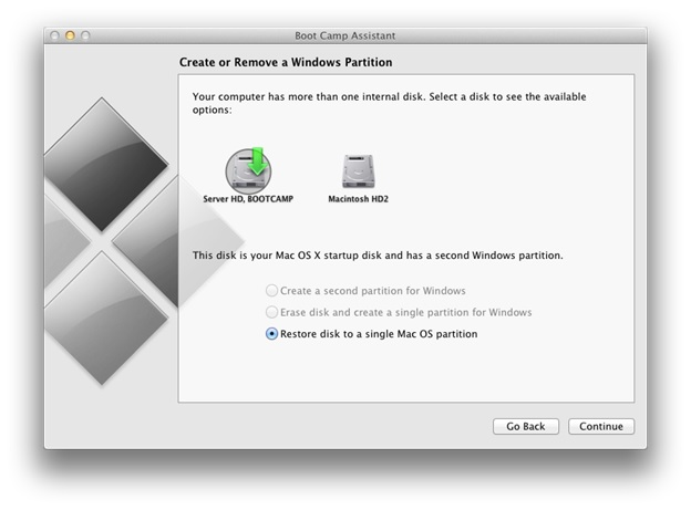 How to remove a Windows Boot Camp installation