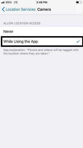 use camera location on ios