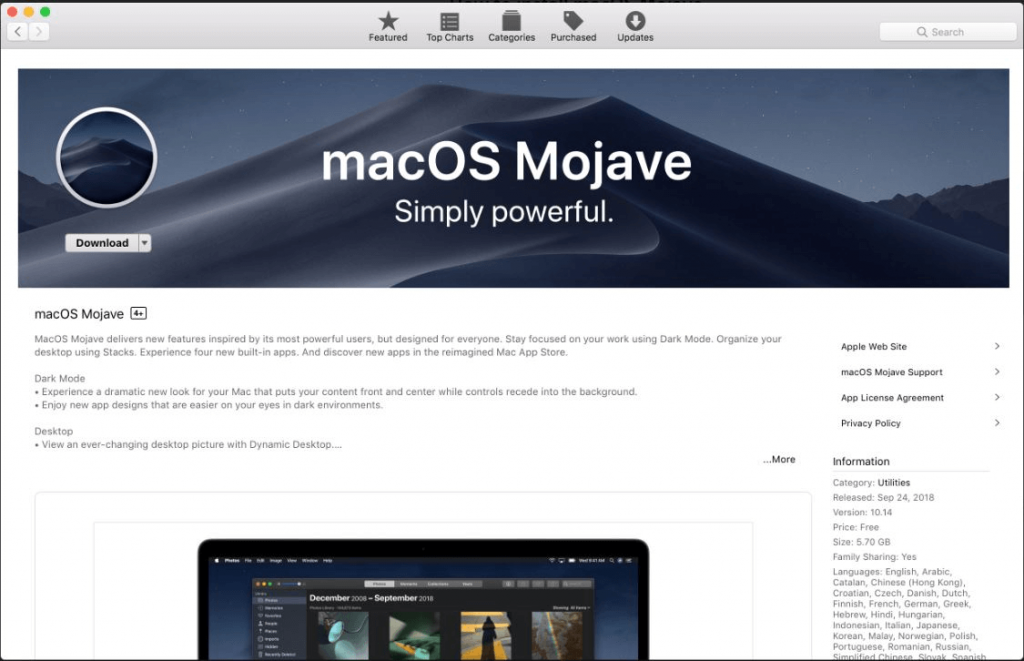 Download macOS Mojave