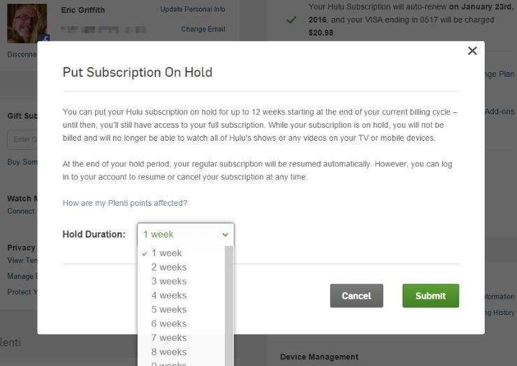 Put Subscription on Hold