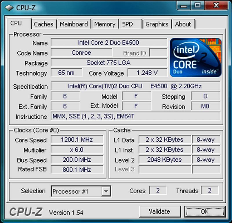 CPU Z- system information tool