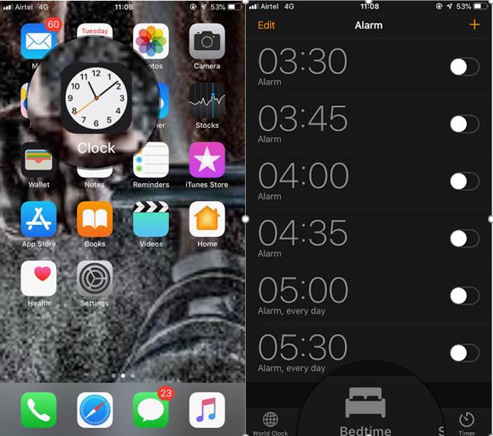 locate the clock app
