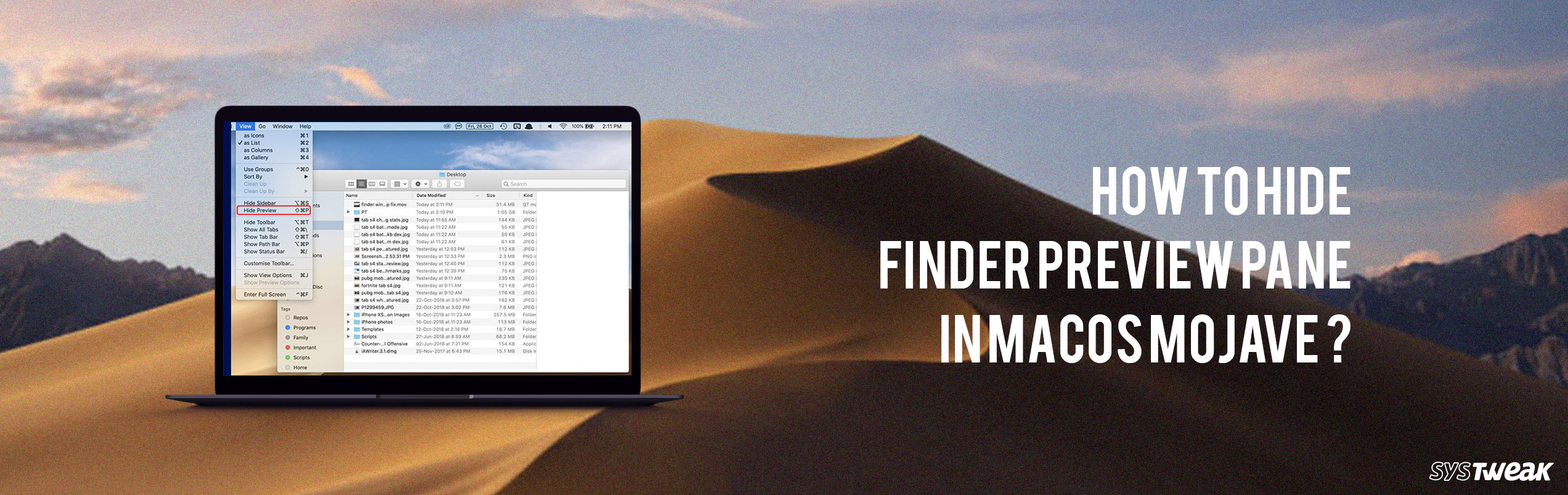 How to Hide Finder Preview Pane in macOS Mojave?