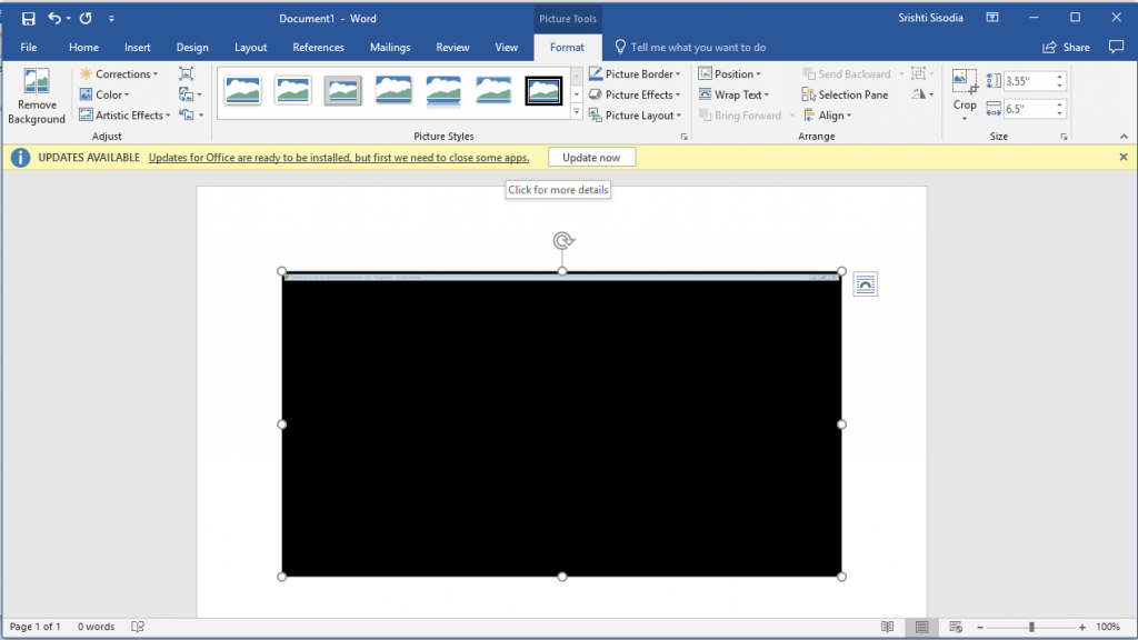 insert screenshot in ms office screenshot tool