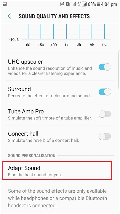 Adapt sound