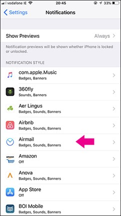 Airmail notifications
