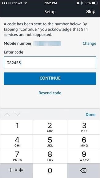 Alexa app verification code