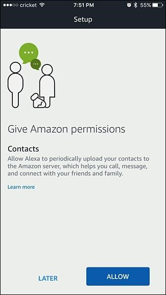 Alexa setup permissions