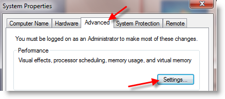 Change the size of virtual memory to make windows 7 faster