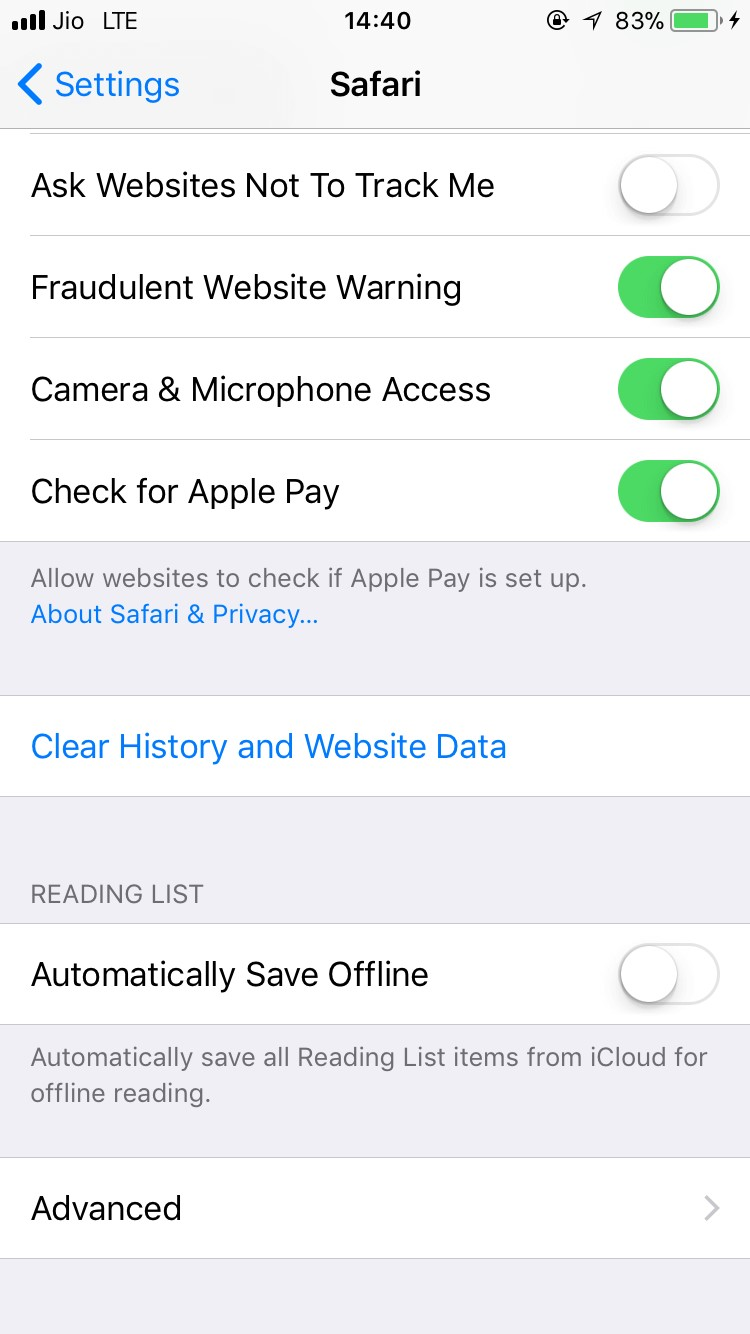 Clear cookies, history and data in safari
