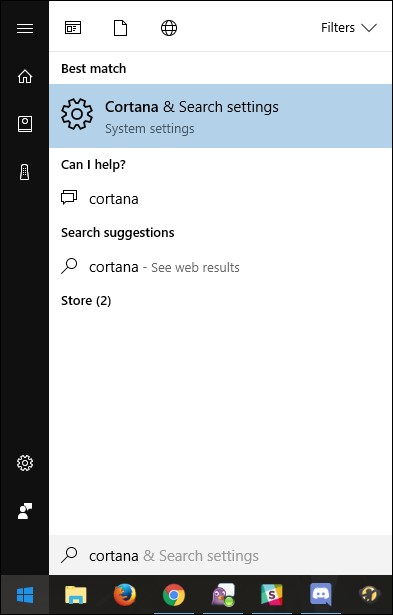 Cortana and search settings
