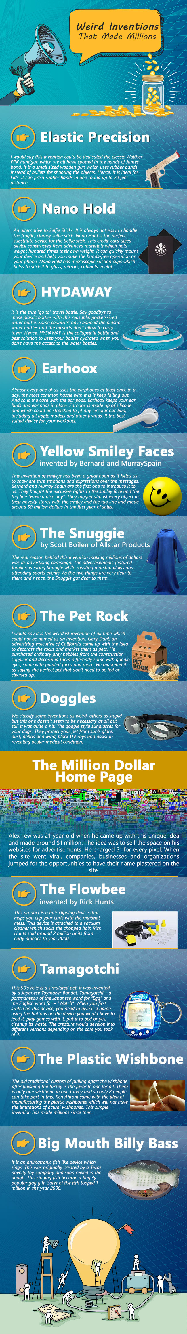 Crazy Inventions That made millions of Dollars infographic