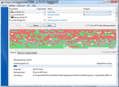 Defragmenting your hard drive to speed up widnows 7