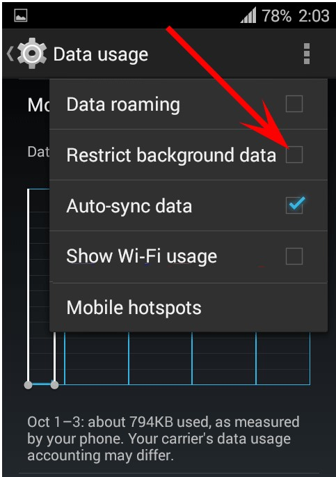 Disable background data