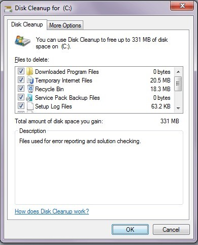Disk cleanup more options