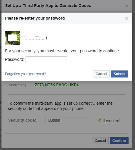 Facebook profile password