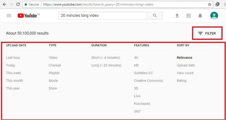 Filter videos