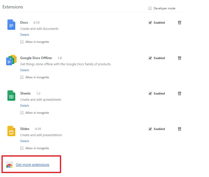 Get more extensions on google