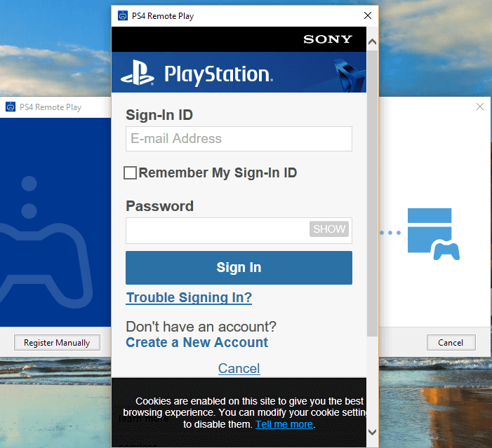 Login to PSn account to Play PS4 on PC