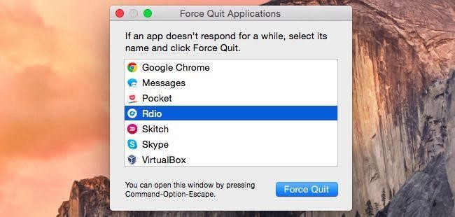 Mac force quit application