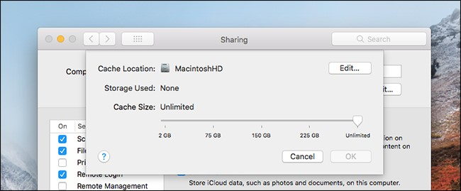 Mac sharing cache size