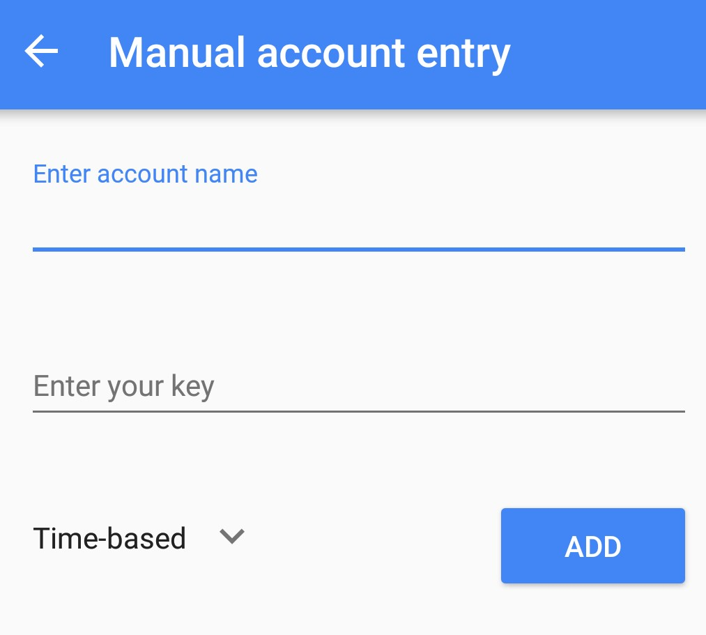 Mannual account entry