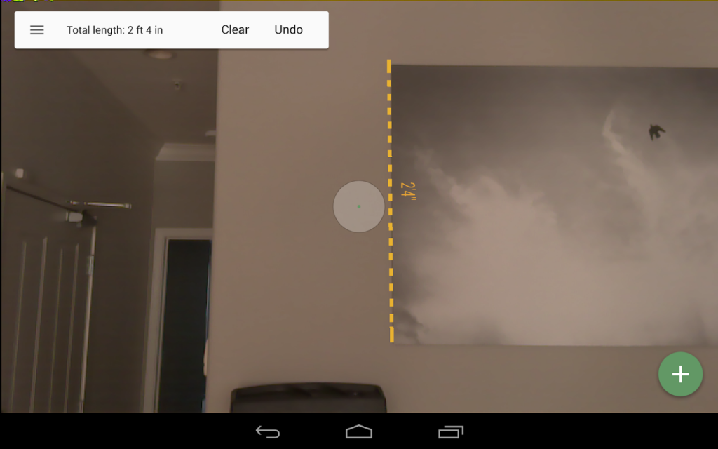 taking measurements throufg google tango