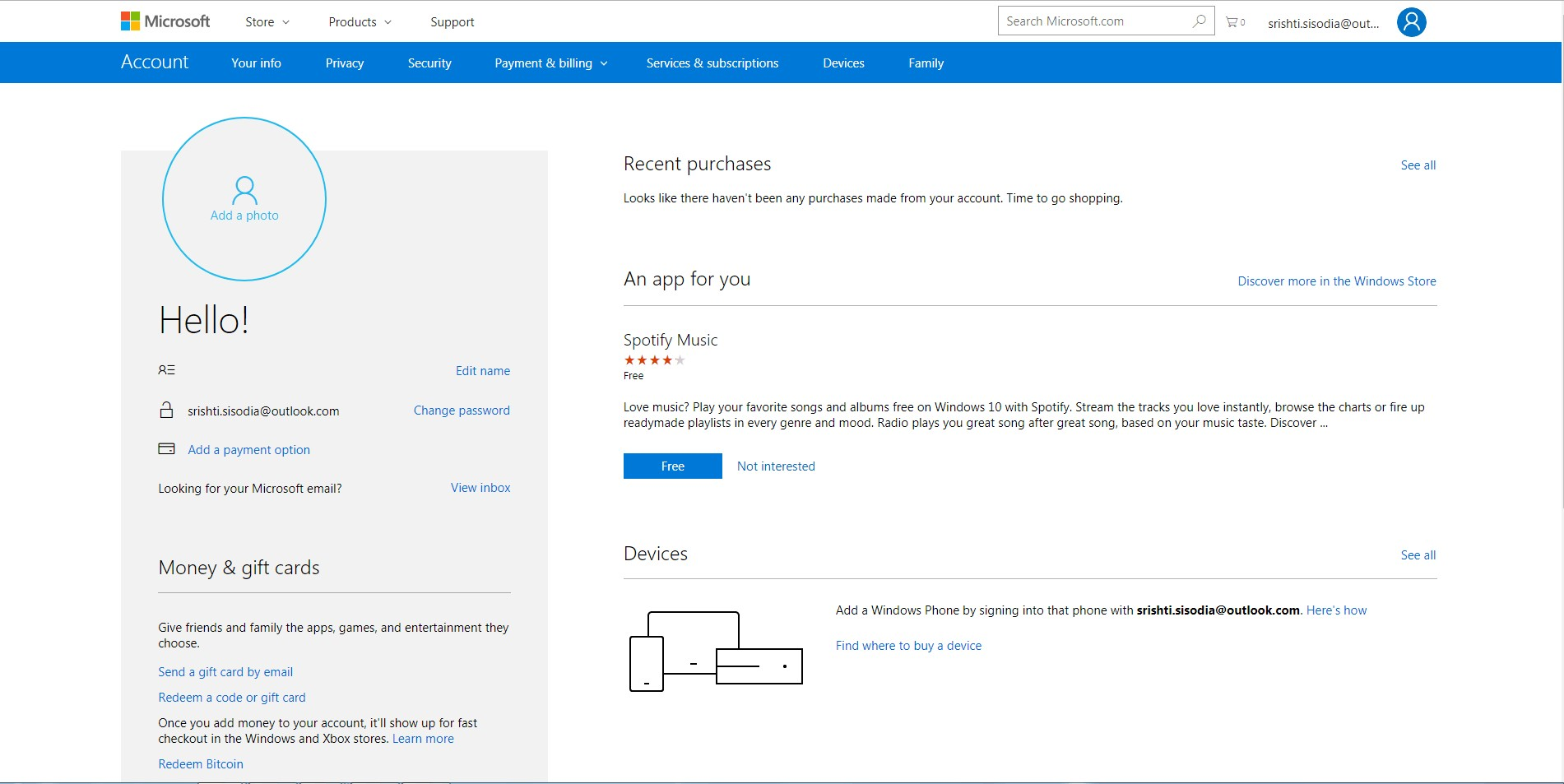 Microsoft account home page