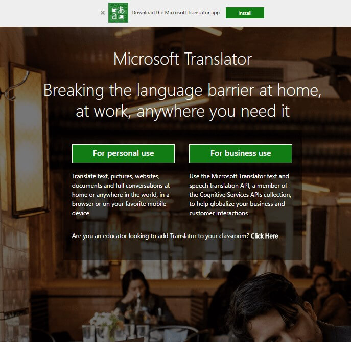 Microsoft tranlator